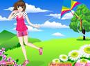 Spring Girl Flying Kite